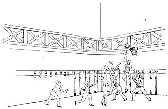 History of basketball - An illustration of a basketball game that accompanied Nasmith's article from The Triangle in 1892 listing his 13 rules.