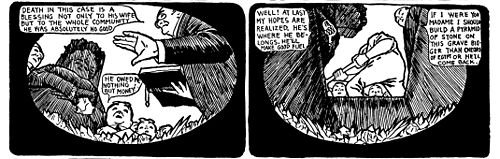 Two panels of a comic strip of a man being buried alive