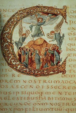 Carolingian art - Drogo Sacramentary, c. 850: a historiated initial 'C' contains the Ascension of Christ. The text is in gold ink.