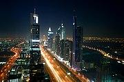Nocna panorama Dubaju