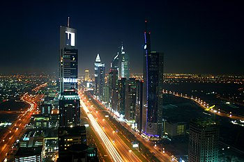 Nightscape of the high-rise section of Dubai, ...