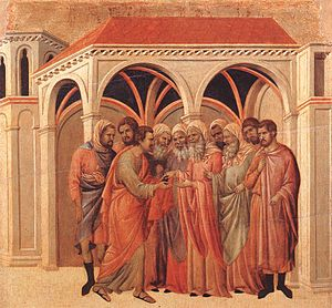 Bargain of Judas - Judas making a bargain with the priests, depicted by Duccio, early 14th century.