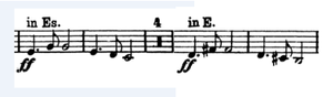 Transposition (music) - Excerpt of the trumpet part of Symphony No. 9 of Antonín Dvořák, where sight transposition is required.