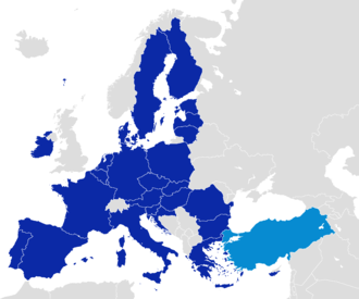 After becoming one of the early members of the Council of Europe in 1950, Turkey became an associate member of the EEC in 1963, joined the EU Customs Union in 1995 and started full membership negotiations with the European Union in 2005. EU and Turkey Locator Map.png