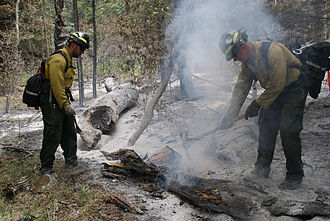 East Peak Fire - Firefighters putting out burning embers on June 29 to keep the fire from rekindling.