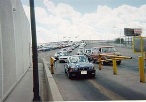 Bridge of the Americas (El Paso–Ciudad Juárez) - U.S.-bound traffic exiting the bridge in June 2002.