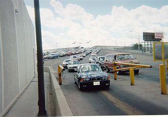 Bridge of the Americas (El Paso–Ciudad Juárez) - U.S.-bound traffic exiting the bridge in June 2002.