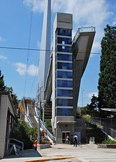 Elevator tower at east end of Gibbs St Pedestrian Bridge in Portland, Oregon.jpg