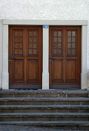History of the Jews in Switzerland - Two separate doors (one for Jews and one for Christians) on a house in Endingen