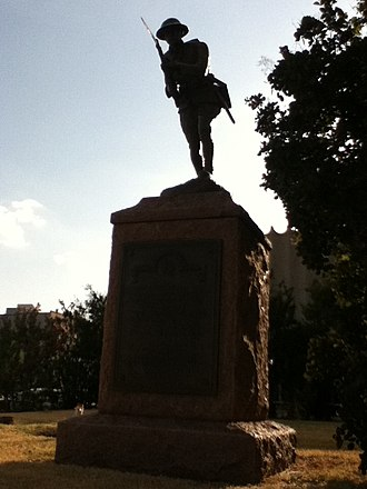 Enid Downtown Historic District - Doughboy statue on the courthouse lawn.