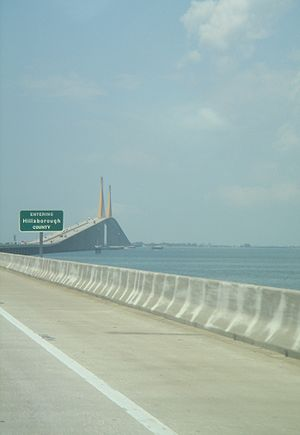 Hillsborough County, Florida - The Sunshine Skyway (I-275), which connects Pinellas to Manatee counties. The middle span is in Hillsborough County.