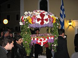 The Epitaphios being carried in procession.