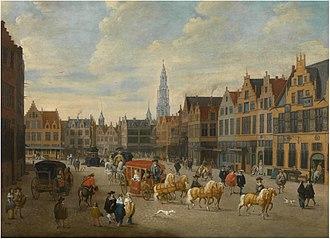 Timeline of Antwerp - View of the Meir in Antwerp. Painting by Erasmus de Bie