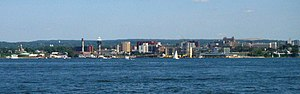 The Erie skyline, facing south from Presque Isle State Park across Presque Isle Bay