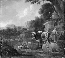Shepherdess with her Cattle, Sheep and Goats