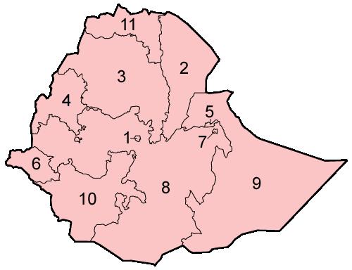 Ethiopia regions numbered
