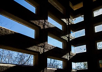 Gerald B. and Beverley Tonkens House - Example of windows set into precast blocks in the Tonkens House. Photo courtesy of Toby Oliver.