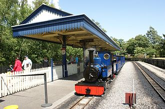 "Exbury Gardens - ""Naomi"" with three coaches at Exbury Central"