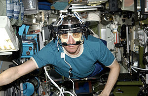 Cosmonaut on the ISS with the ETD