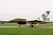 F-16 MLU of Royal Netherlands Air Force's Solo Display Team (reg. J-055), taxiing, Radom AirShow 2005, Poland