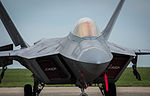 F-22A Raptor parked on the flightline at Mihail Kogalniceanu Air Base, Romania.jpg