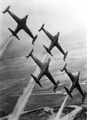 "140th Wing - ""Minutemen"" aerobatics team with F-80Cs, 1956"