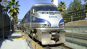Amtrak Pacific Surfliner at Solana Beach, Cali...