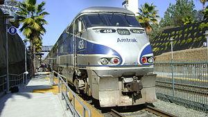 Amtrak Pacific Surfliner at Solana Beach, Cali...