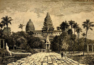 Angkor Wat - Facade of Angkor Wat, a drawing by Henri Mouhot, c. 1860