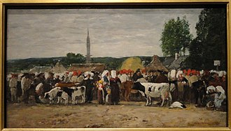 "Eugène Boudin - Fair in Brittany, one of Boudin's ""Brittany"" paintings (1874), Corcoran Gallery of Art"
