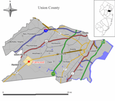 Map of Fanwood in Union County. Inset: Location of Union County highlighted in the State of New Jersey.