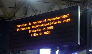 Eurostar - Eurostar relocated from Waterloo International station to St Pancras International station in 2007
