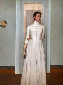 """Portrait of Marguerite Khnopff"" (1887), by Fernand Khnopff (Source: Wikimedia)"