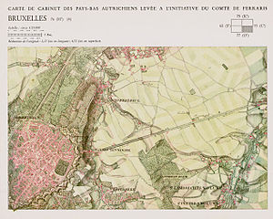Map collection - Ferraris map of Brussels, Belgium, between 1771 and 1778, from the map collection of the Royal Library of Belgium.