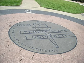 Ferris State University - Ferris State University seal, prominently displaying the school's year of foundation, 1884
