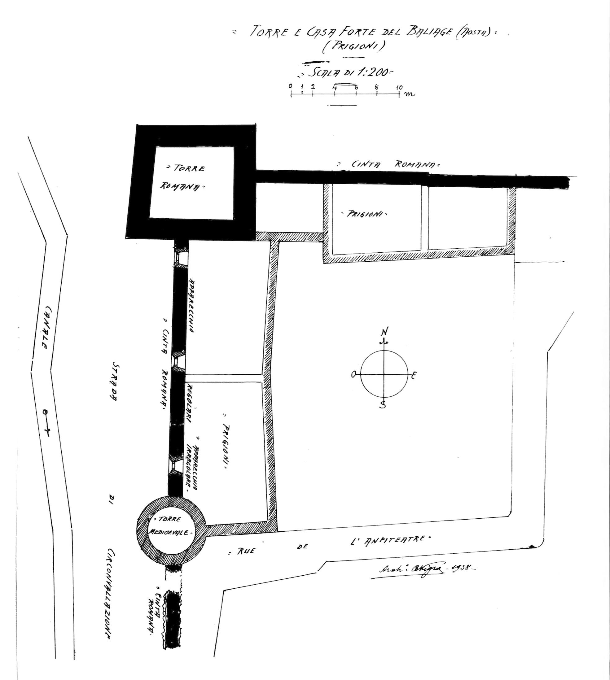 file fig 213  torre e casaforte del baliage  aosta  prigioni  pianta  1938  nigra tiff