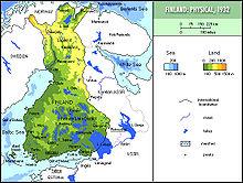 Carta della Finlandia nel ventennio 1920-1940