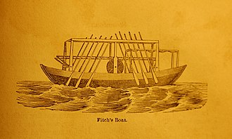 "John Fanning Watson - ""Fitch's Boat"". Woodcut of John Fitch's 1787 oar-propelled steamboat, from 1844 edition of Annals of Philadelphia."