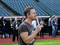 Five-time Grammy nominee Hunter Hayes performs his national anthem soundcheck, hours before Game 6 of the World Series. (30415724510).jpg