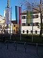 Flagpoles and racks at Saint Roch Hospital, Gyulay Street wing, 2017 Palotanegyed.jpg