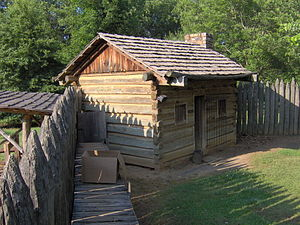 Fort Watauga - Fort Watauga's palisade, parapet, and north corner cabin