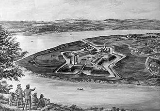 Fort Pitt Blockhouse - Image: Fort Pitt in 1776