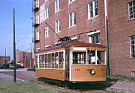 Fort Smith Birney streetcar 224 behind Museum of History (1997).jpg