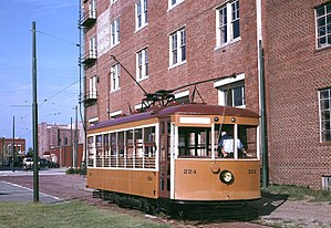 Fort Smith Trolley Museum - 1926 Birney streetcar 224 passing the  Fort Smith Museum of History