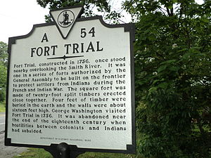 Bassett, Virginia - Virginia state historical marker for Fort Trial, built in 1756 near present-day Bassett