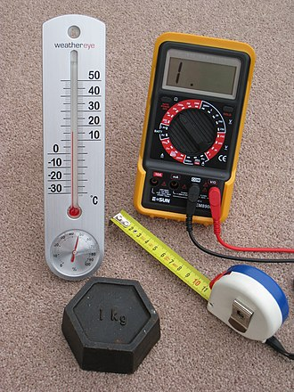 Metric system - Four metric measuring devices: a tape measure in centimetres, a thermometer in degrees Celsius, a kilogram weight and a multimeter that measures volts, amperes and ohms