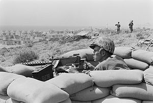Lebanese Civil War - U.S. Marine sits in a foxhole outside Beirut, 1958