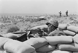 1958 Lebanon crisis - U.S. Marine sits in a foxhole outside Beirut,