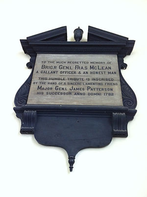 Penobscot Expedition - Francis McLean Plaque, St. Paul's Church (Halifax), Nova Scotia
