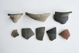 Canvey Island - Fragments of early marked pottery uncovered from Canvey Point.